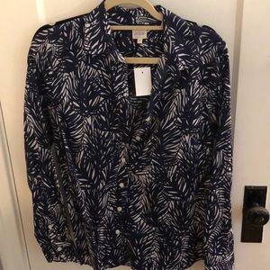 J. Crew printed navy button down shirt